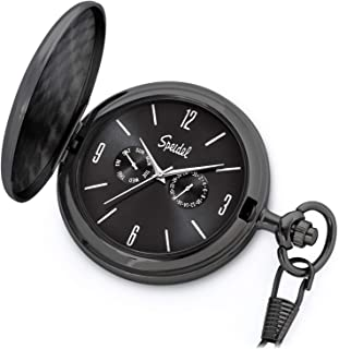 "Speidel Classic Brushed Satin Engravable Pocket Watch with 14"" Chain, Seconds Hand, Day and Date Sub-Dials"