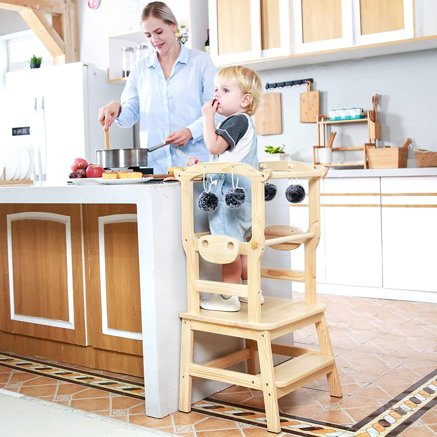 PP OPOUNT Kitchen Step Stool Children, Natural Wooden Montessori Toddler Step with Safety Rail, Cow Style, Solid Wood