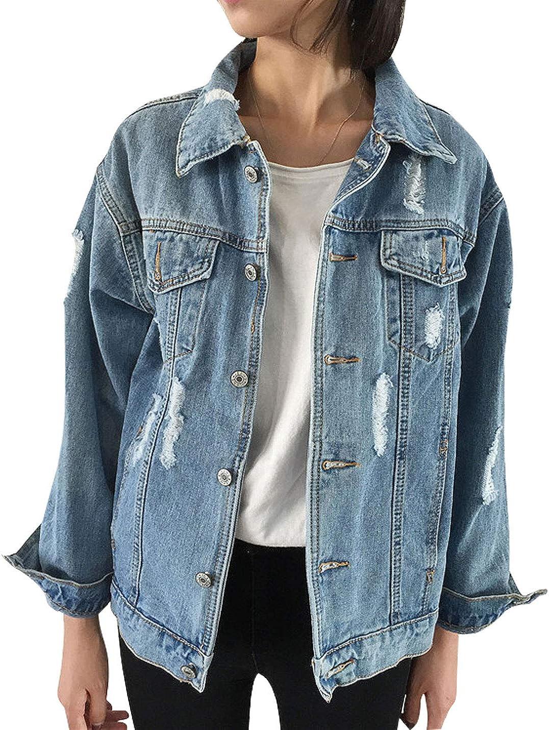 Omoone Women's Long Sleeve Oversized Ripped Denim Coats Jean Trucker Jacket