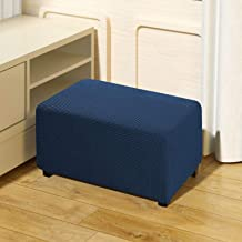 QUALITELL Ottoman Slipcover Stretch Footstool Cover Furniture Protector for Living Room - Blue, Small