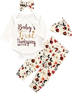 4Pcs My First Thanksgiving Outfit Newborn Baby Girl Long Sleeve Romper Top+Floral Pants+Flower Hat+Headband Clothes Set