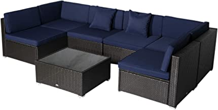 Outsunny 7-Piece Outdoor Wicker Patio Sofa Set, Modern Rattan Conversation Furniture Set with Cushions, Pillows and Tea Ta...