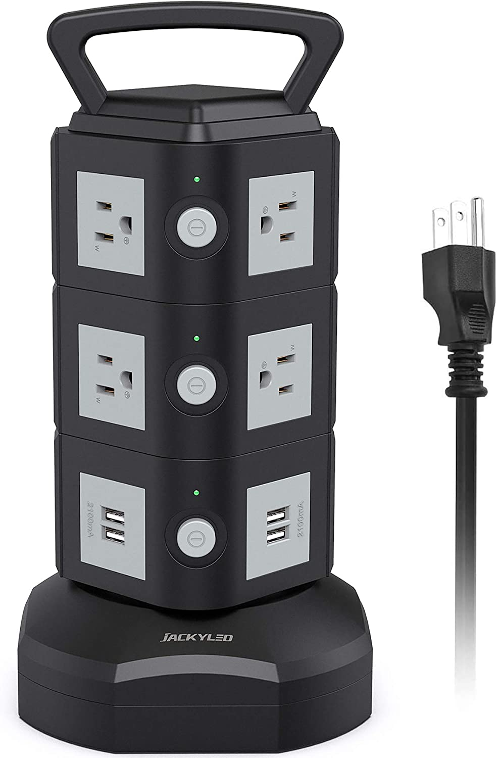 Power Strip Surge Protector Tower JACKYLED Electric Charging Station 13A 10 AC Outlets 4 USB Ports with 16AWG 6.5ft Heavy Duty Extension Cord for Home Office Computer Laptop Black Grey