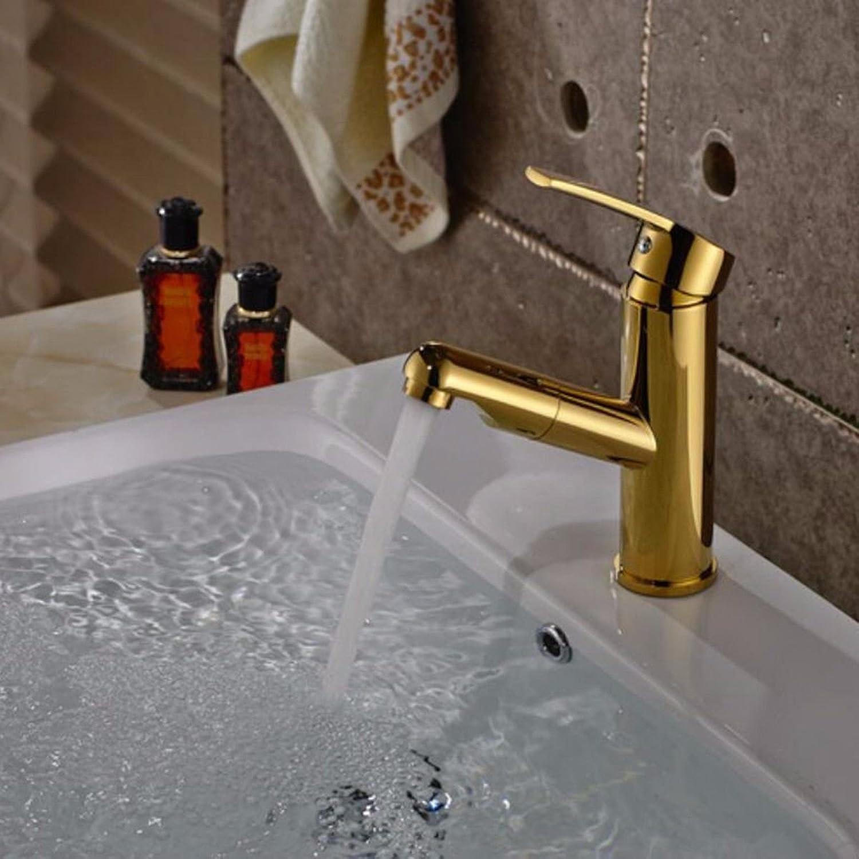 Gyps Faucet Waschtisch-Einhebelmischer Waschtischarmatur BadarmaturDas Kupfer Gold Waschbecken Waschbecken Wasserhahn und kaltem Wasser Mischen Wasser Kann Nach Unten gepumpt Werden Ein,Mischbatter
