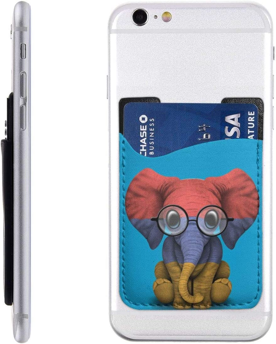 Baby Elephant Glasses Armenian Flag Phone Card Holder, Stick On ID Credit Card Wallet Phone Case Pouch Sleeve Pocket for iPhone, Android and All Smartphones