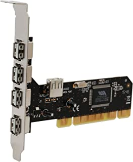 Syba 5 Port (4 External & 1 Internal) USB 2.0 PCI Card, PCI Expansion to USB 2 Adapter Hub Controller VIA VT6212