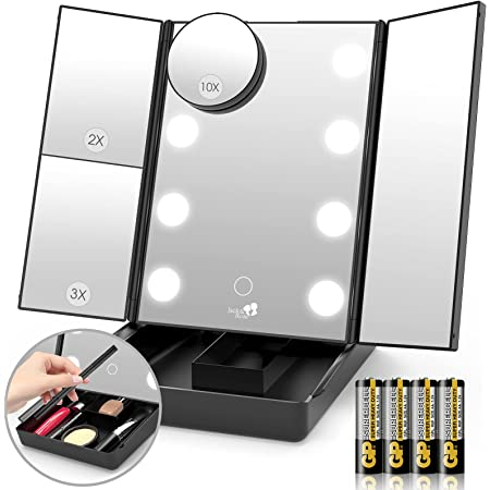 Jack & Rose Makeup Mirror Vanity Mirror with Storage Box, Trifold 8 Makeup Mirror with Lights, Touch Screen and 1x/2x/3x/10x Magnification, Dual Power Supply, LED Lights Make Up Mirror