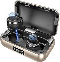 LAMA Bluetooth 5.0 Wireless Earbuds IPX7 Waterproof TWS Hi-Fi Stereo Headphones in-Ear, 4000mAH Wireless Charging Case, Built-in Mic Headset Premium Sound with Deep Bass for Sport (Golden)