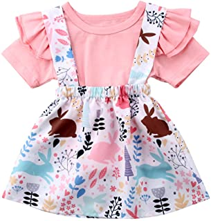 Easter Day-Toddler Baby Girls Skirt Set Ruffle Sleeve T-Shirt Tops+ Bunny Overall Skirt