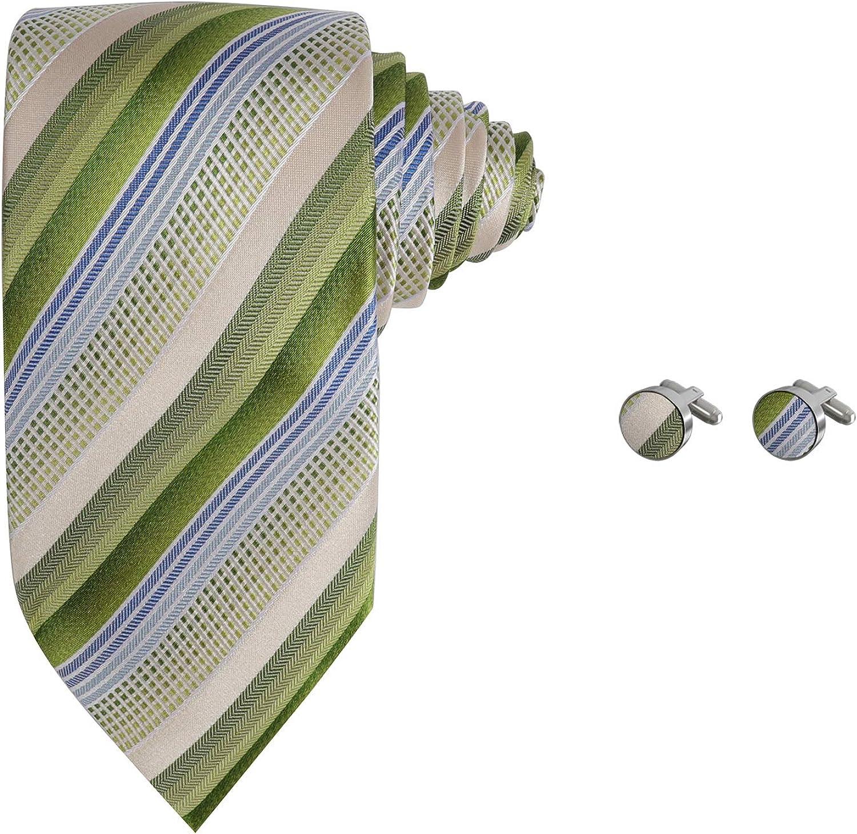 Y&G Men's Fashion Stripes Necktie Rack Mens Silk Tie Cufflinks Set 2PT