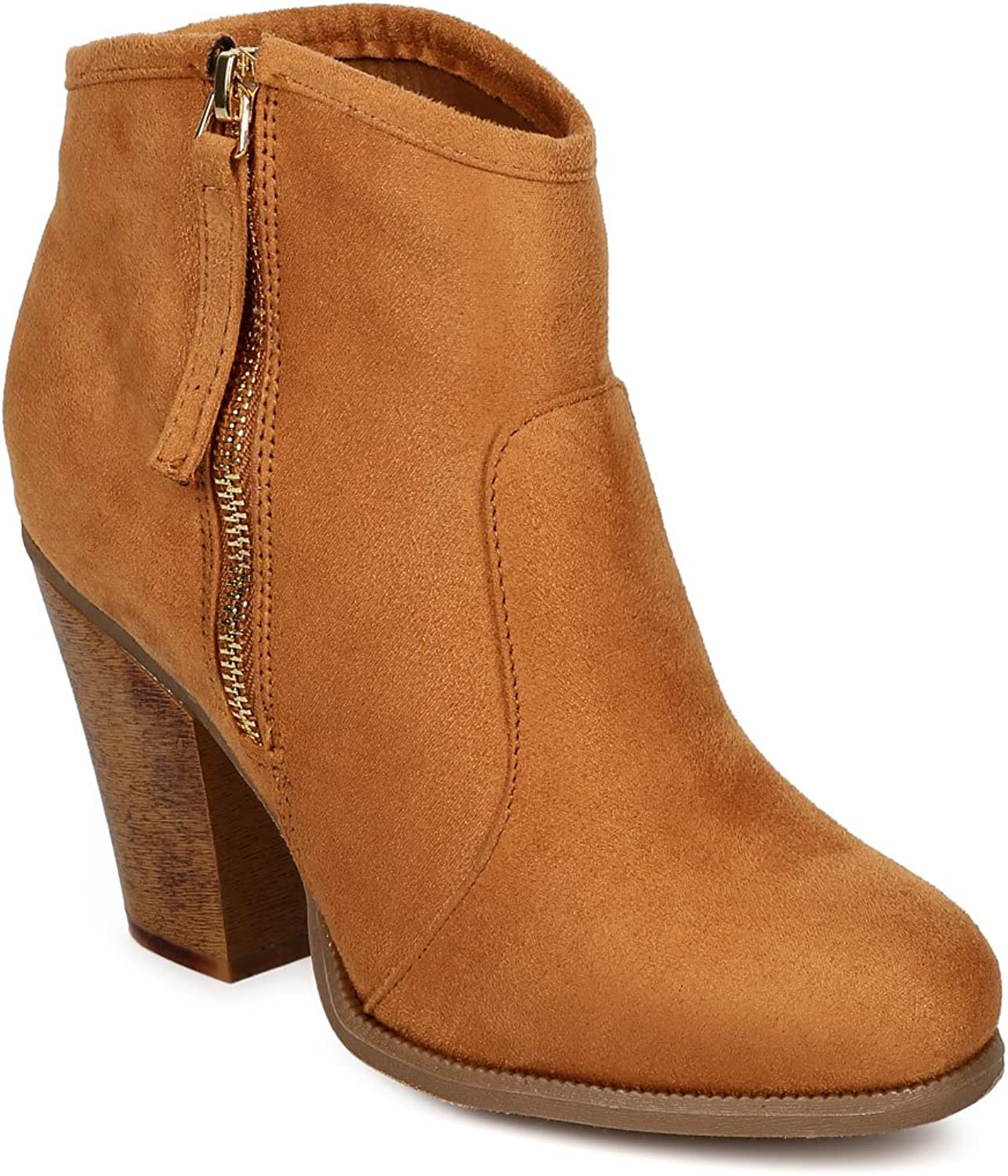 Liliana CK46 Women Suede Round Toe Chunky Heel Ankle Riding Bootie - Tan
