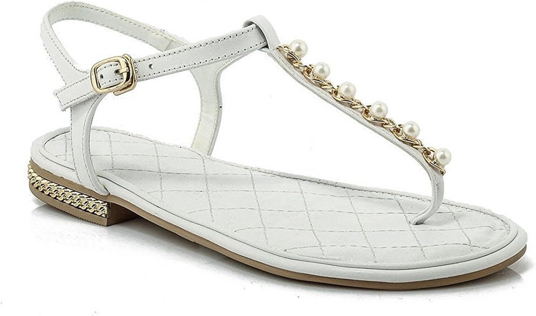 Xiaoyouny Fashionable Women's Buckle Split Toe Low-Heels Cow Leather Solid Sandals