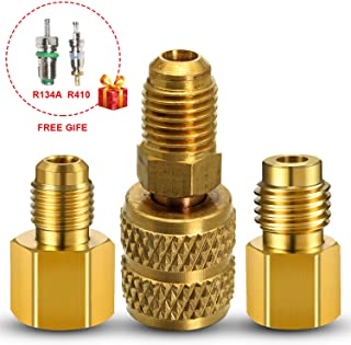R134A Refrigerant 6015 Tank Adapter to R12 R22 Fitting Adapter 1/2 Female Acme to 1/4 Male Flare Adaptor Valve Core and 6014 a/c Vacuum Pump Hvac Adapter 1/4 Inch Flare Female to 1/2 Inch Acme Male