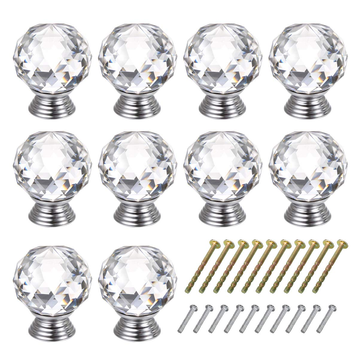 TOOGOO R 10 Pcs 20mm Glass Cabinet Knobs Drawer Pull Furniture Handle