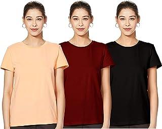 Amazon Brand - Symbol Women's plain Regular Fit Half Sleeve cotton T-Shirt