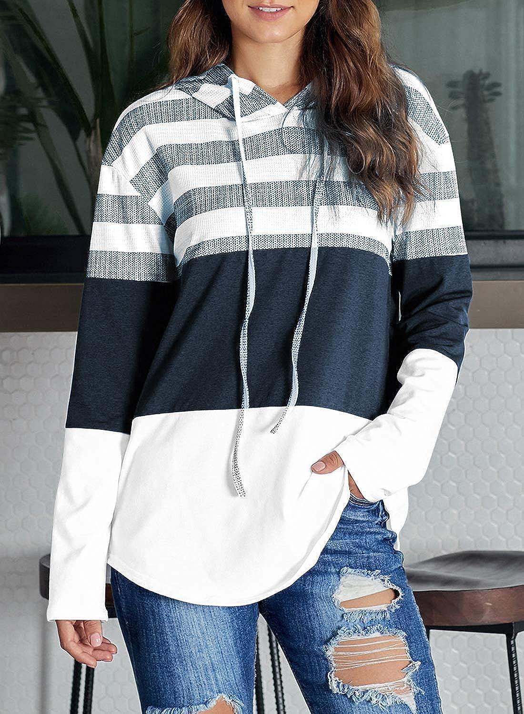 Ecrocoo Womens Casual Drawstring Hoodies Loose Sweatshirts Stripe Color Block Pullover