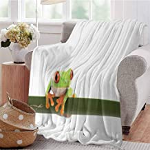 KFUTMD Soft Lightweight Blanket Red Eyed Tree Frog Perches on a Long Slim Leaf Tropic Rainforest Animal Wild Life Green White Sofa Camping Reading Car Travel W60 xL80