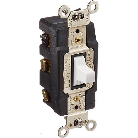 Leviton 1286-W 20-Amp 120/277-Volt Toggle Double-Pole AC Quiet Switch, White