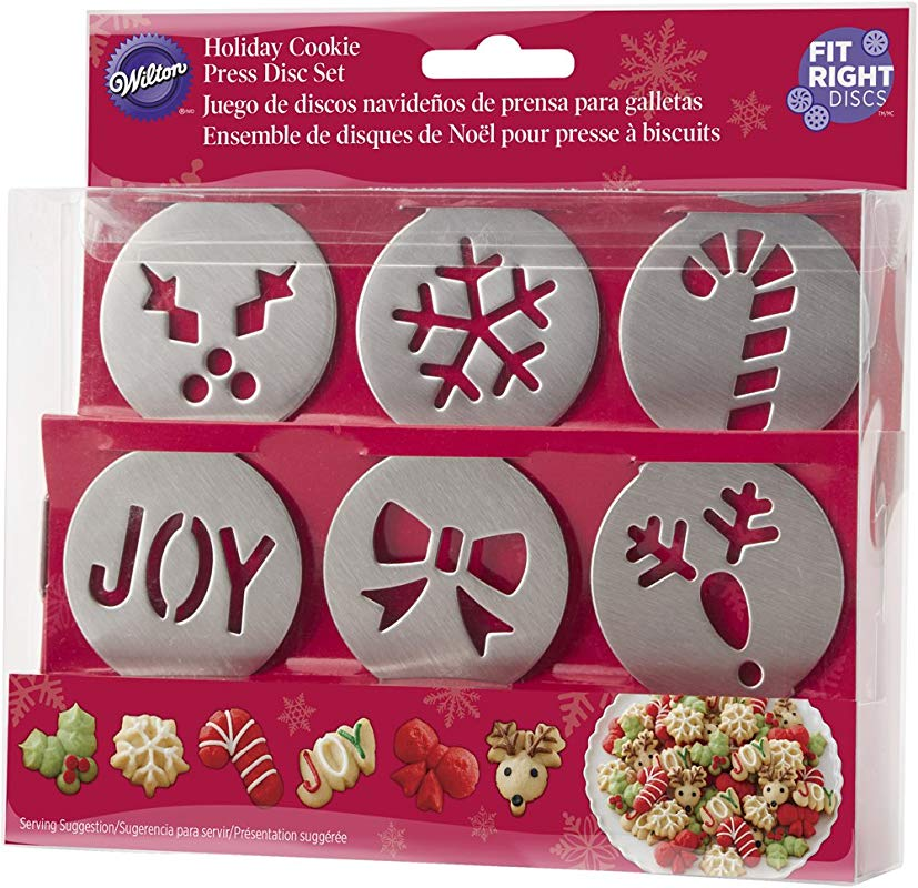 Wilton 6 Piece Fit Right Holiday Cookie Disc Set