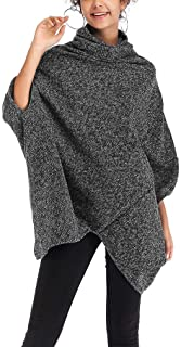 YiyiLai Women Loose Irregular 3/4 Sleeve High Neck Cloak Sweater Ponchos