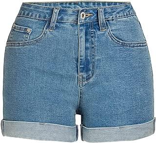 LUKEEXIN Women's High Rise Jean Shorts Folded Hem Denim Shorts Junior