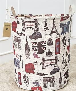 Kids Laundry Canvas Basket Toy Storage Bin Fabric Nursery Hamper Large Laundry with Handle,Collapsible & Convenient (Paris)