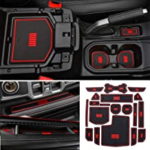 YOCTM Car Styling Red Cushion Non-Slip Gate Slot Pad Cup Mats Auto Interior Door Slot Pad Mat For Jeep Wrangler JL 2018 2019 4 Door Interior Parts Accessories (Red)