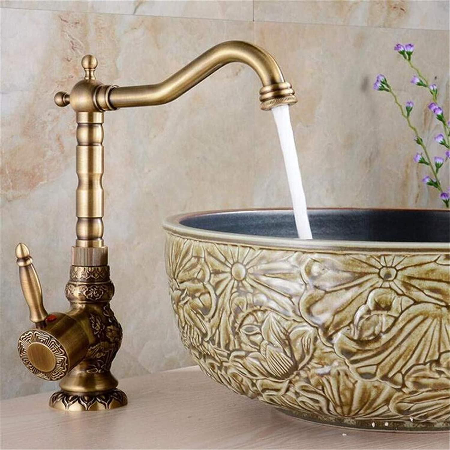 Vintage Faucet Faucet Antique Retro Rotary Vintage Carved Basin Hot And Cold Stage With Artistic Basin Mixing Water Bronze