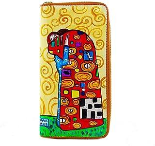 Portafoglio in pelle dipinta a mano – L' ABBRACCIO DI KLIMT - Portafogli Donna, Vera Pelle, Made in Italy, in Pelle Dipint...