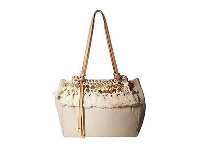 Tory Burch Caroline Embellished Carryall (Natural) Handbags