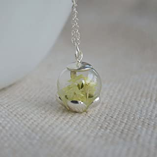 Limonium Real Flower Luminous Green Glow in the Dark 925 Sterling Silver Chain Necklace