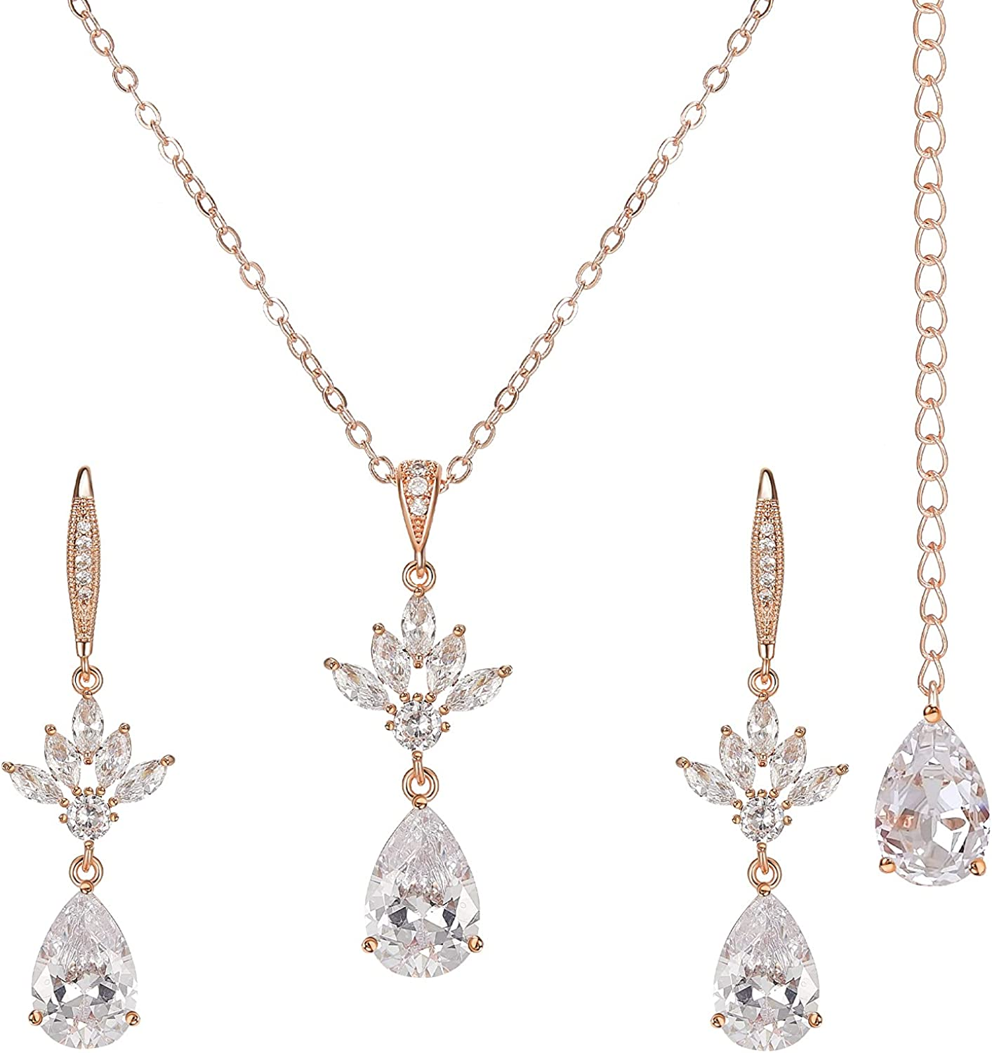 SWEETV Crystal All items free shipping Bridal Wedding Translated Jewelry for Brides Sets Bridesmaid