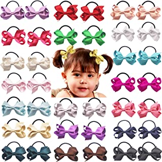 40PCS Tiny Baby Hair Bows 2.5Inch Glitter Grosgrain Ribbon Bows Hair Ties Elastic Hair Bands Ponytail Holder Hair Accessories for Baby Girls Toddlers Kids Children In Pairs