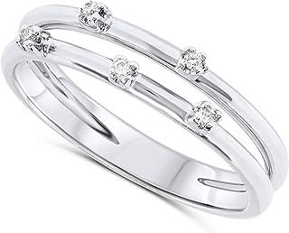 18k White Gold Split Double Band Five Stone Diamond Ring