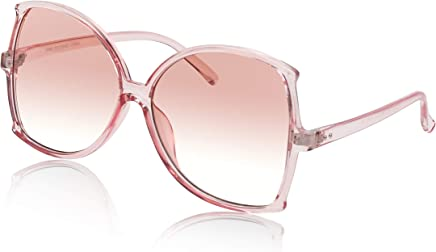 c2f2ad9a62 Womens Super Oversized Sunglasses Transparent Frame Gradient Colored Lens  UV400