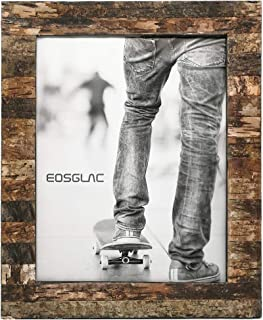 Eosglac Rustic 11x14 Wooden Picture Frame, Handmade with Real Birch Bark, Photo Frames Natural