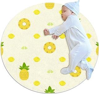 Ananasskivor, barn rund matta polyester överkast matta mjuk pedagogisk tvättbar matta barnkammare tipi tält lekmatta