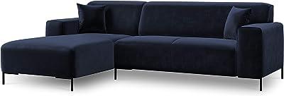 Cosmopolitan Design Canapé d'angle Gauche Velours, Parma, 4 Places, Bleu Roi, 269x175x92