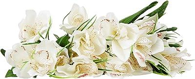 Fourwalls Artificial Cymbidium Flower Bunches (12 cm x 12 cm x 31 cm, White, Set of 2)