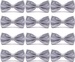 530504dbc427 AVANTMEN Men's Bowties Formal Satin Solid - 12 Pack Bow Ties Pre-tied  Adjustable Ties