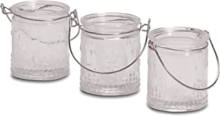WHW Whole House Worlds 3 Piece Fleur Di Lise French Country Style Mini Wind Light Candle Holders, Boxed Set, Pressed Glass, Wire Hanging Handles, Each 2 3/4 Inches Tall, for LED and Wax Tea Lights