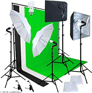 Linco Pheno Studio Lighting Studio Softbox Umbrella Reflector (3 in 1) Photography 9x10 feet Backdrop Stand Kit with 3 Color Muslin & Clamps