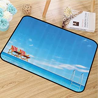 Multi-Function Door mat House Decor Collection for porches Swimming Pool with Beach Chairs Armchair Sunlight Outdoors Waterscape Sunbath Image W35 x L47 Blue Red