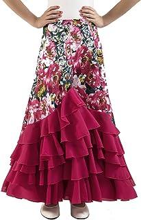 Falda de NIÑA para Baile Flamenco o sevillanas con Mucho Vuelo, 5 Volantes en Cascada, con Flores Estampadas.