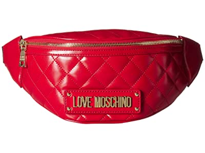 LOVE Moschino Quilted Belt Bag (Rosso) Handbags