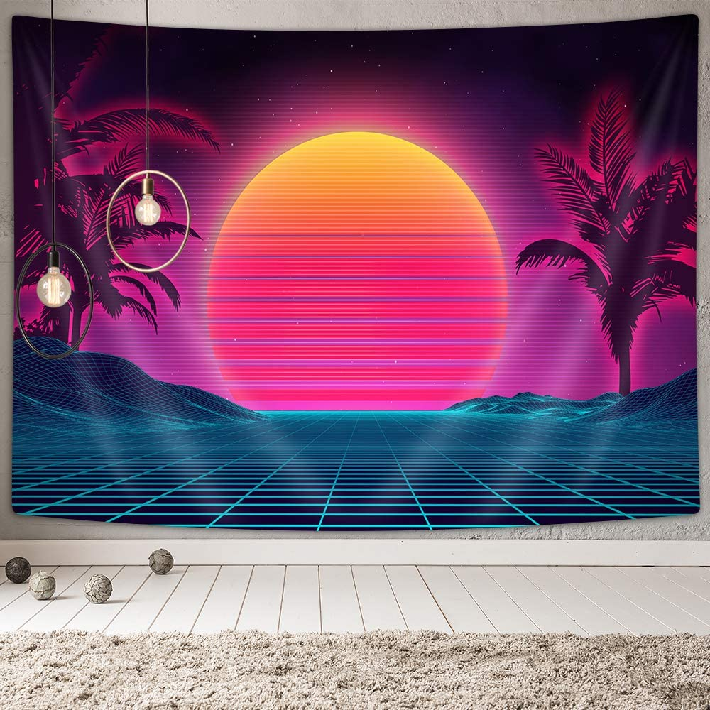 Amazon Com Retro 80s Neon Tapestry Wall Decor Futuristic Decor Wall Tapestry Vaporwave Decor Retro Neon Posters Wall Tapestries Aesthetic 90s Wall Art Mustic Room Wall Hanging Tapestry For Home 60x40 Inches Everything