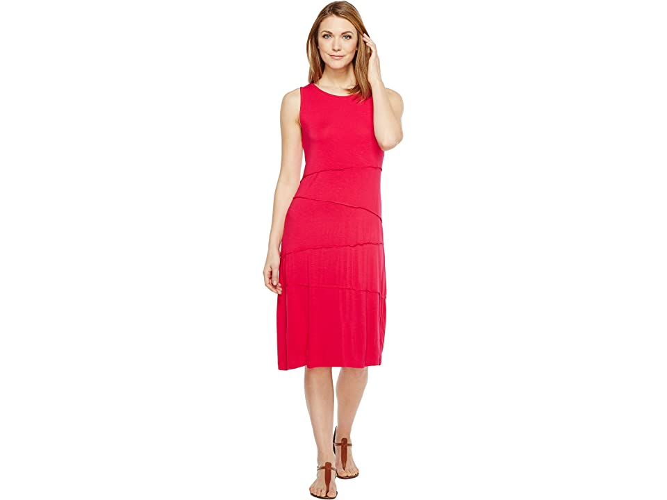Mod-o-doc Rayon Spandex Slub Jersey Seamed Swing Tank Dress (Berry Red) Women