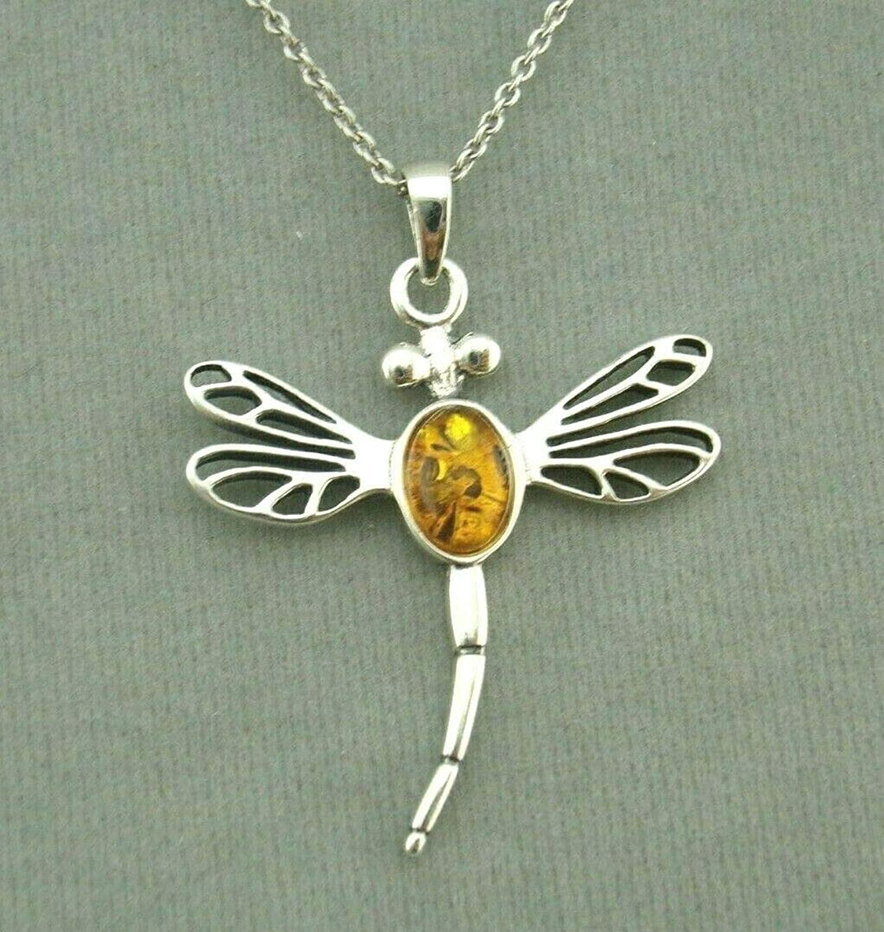 Dragonfly Pendant Necklace For Women Amber Silver Jewelry NEW