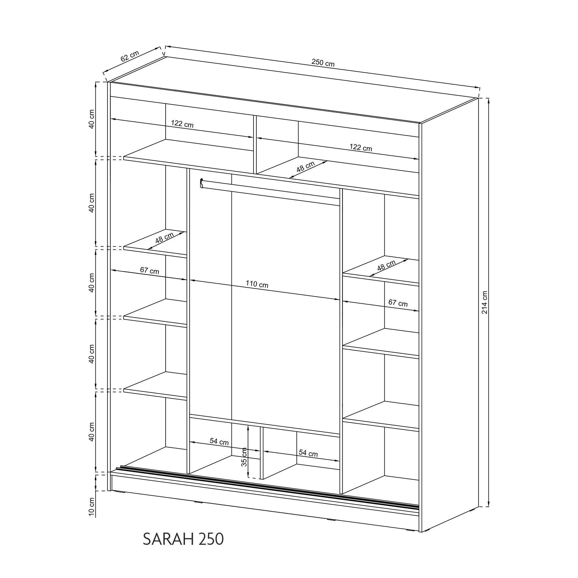 PSK SARAH 250 ALU - Armario con 3 puertas correderas con espejo retrovisor de aluminio, bordes horizontales grandes, luces LED de color gris: Amazon.es: Hogar