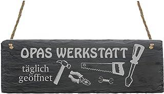 Schild « OPAS WERKSTATT » aus Schiefer - ca.22 x 8 cm - T�
